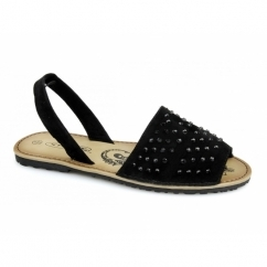 JOSIE Ladies Faux Suede Diamante Slingback Sandals Black