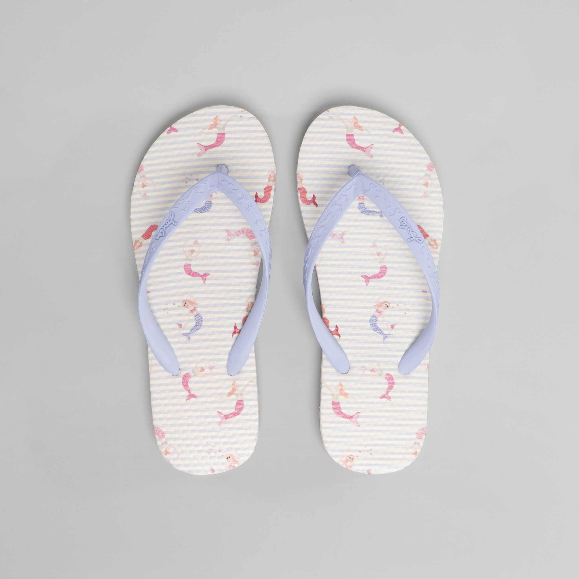 reliable quality variety styles of 2019 high quality guarantee Joules 201367 Girls Flip Flops Cream Mermaid Stripe