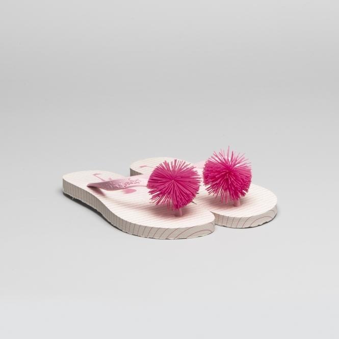 e6c97abba4f3f2 Joules 201367 Girls Flip Flops Pink Flamingo Stripe