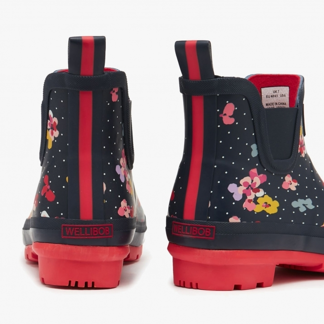 Joules WELLIBOB Ladies Womens Rubber Short Wellies Boots Navy Blossom Spot