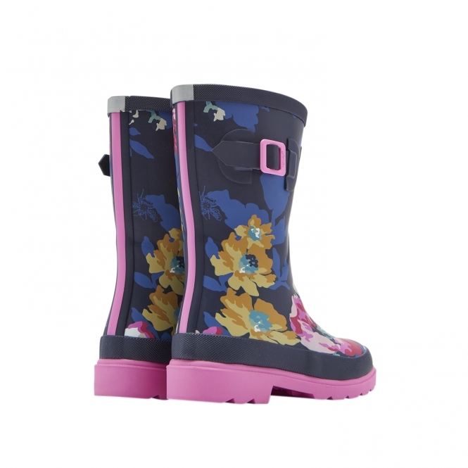 Girls Flower Print Wellies Navy Slip On Wellington Boots With Gusset by Woodland