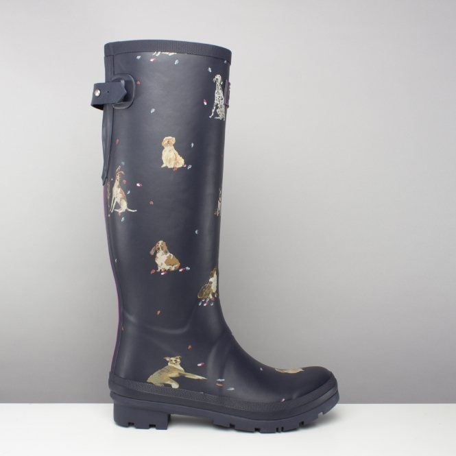Joules WELLY PRINT Ladies Womens Rubber Tall Wellington Boots French Navy Bloom