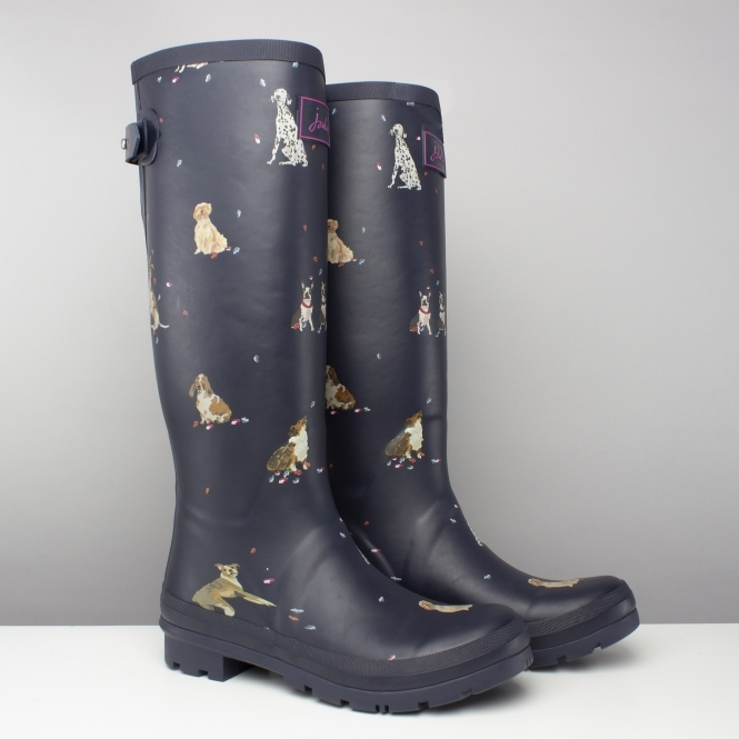 Joules WELLY PRINT Ladies Womens Rubber Tall Wellington Boots French Navy Spot