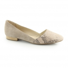 Hush Puppies JOVANNA PHOEBE Ladies Leather Pump Shoes Taupe