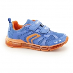 JR ANDROID Boys Dual Touch Close Light Up Trainers Royal/Orange