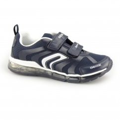 JR ANDROID Boys Dual Touch Fasten Light Up Trainers Navy/White