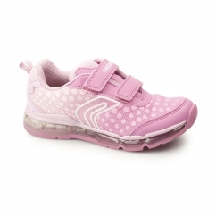 JR ANDROID Girls Dual Touch Fasten Light Up Trainers Fuchsia/Pink