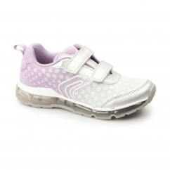 JR ANDROID Girls Dual Touch Fasten Light Up Trainers Silver/Light Lilac
