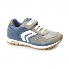 JR PAVEL Boys Touch Fasten Trainers Grey/Avio