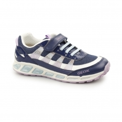 JR SHUTTLE Girls Touch Fasten Trainers Navy/Lilac