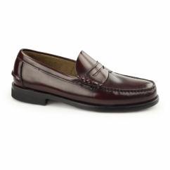 JUAN Mens Leather Penny Loafers Bordo