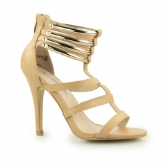 JUDITH Ladies Zip Up High Heel Shoes Camel