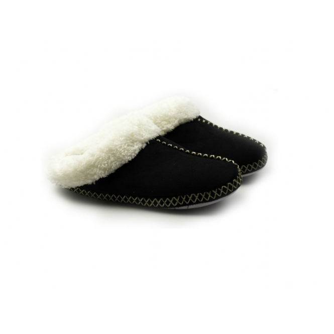 Cara Mia JUDY Ladies Soft Faux Fur Mule Slippers Black