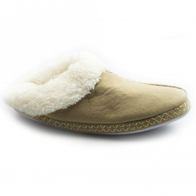 Cara Mia JUDY Ladies Soft Faux Fur Mule Slippers Camel