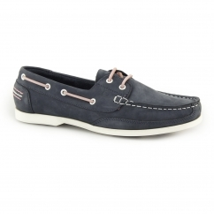 JULIE Ladies Leather Slip On Boat Shoes Navy