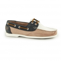 JULIE Ladies Leather Slip On Boat Shoes White/Pink/Navy