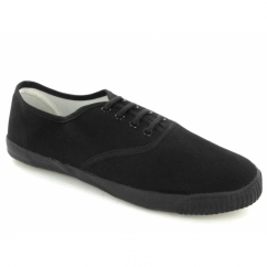 Junior 4 Eyelet Classic Lace Plimsolls Black
