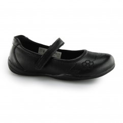 JEANNETTE Girls Velcro Mary Jane School Shoes Black