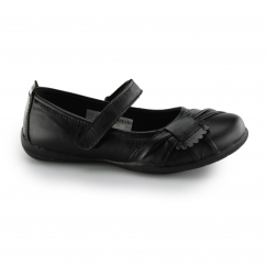 JENELLE Girls Velcro Sash Trim Mary Jane School Shoes Black