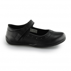 JENNIFER Girls Velcro Stud Trim Mary Jane School Shoes Black