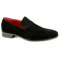 JUSTIN Mens Faux Suede Loafer Shoes Black