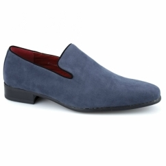 JUSTIN Mens Faux Suede Loafer Shoes Blue