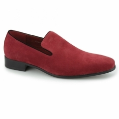 JUSTIN Mens Faux Suede Loafer Shoes Red