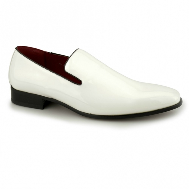 Rossellini JUSTIN Mens Patent Loafer Shoes White