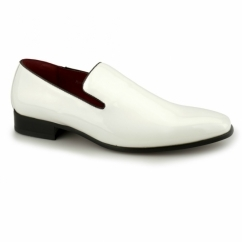 JUSTIN Mens Patent Loafer Shoes White