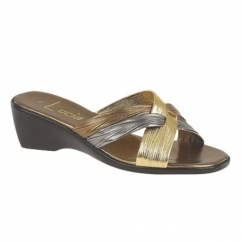 KALEIGH Ladies Heeled Slip On Mule Sandals Bronze