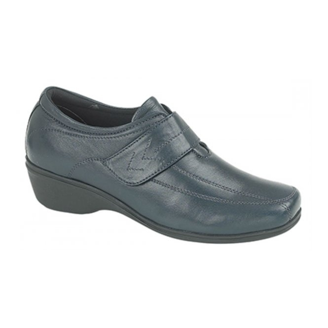 Mod Comfys KAREN Ladies Velcro Wedge Leather Shoes Navy