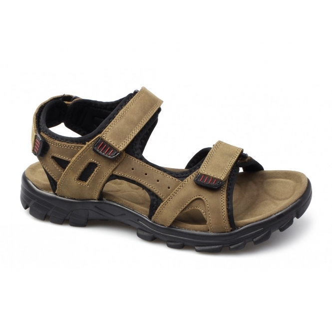 Amblers KARL Mens Triple Velcro Nubuck Sports Sandals Brown