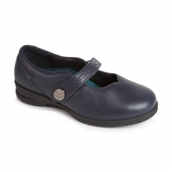 KAY Ladies Leather Super Wide Plus Mary Jane Shoes Navy