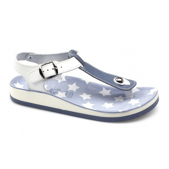 Fantasy Sandals KEFELONIA Ladies Toe Post Flat Sandals Blue/White