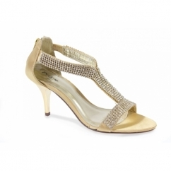 KELLY Womens Low Heel Diamante Satin Shoes Gold
