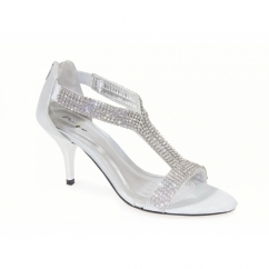 KELLY Womens Low Heel Diamante Satin Shoes Silver