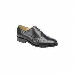 CHESTER Mens Leather Brogue Oxford Shoes Black
