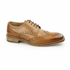 EDWIN Mens Leather Brogue Oxford Shoes Tan