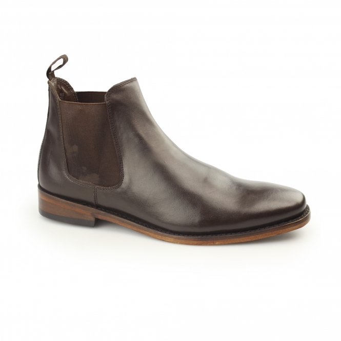 Kensington TED Mens Leather Chelsea Boots Dark Brown