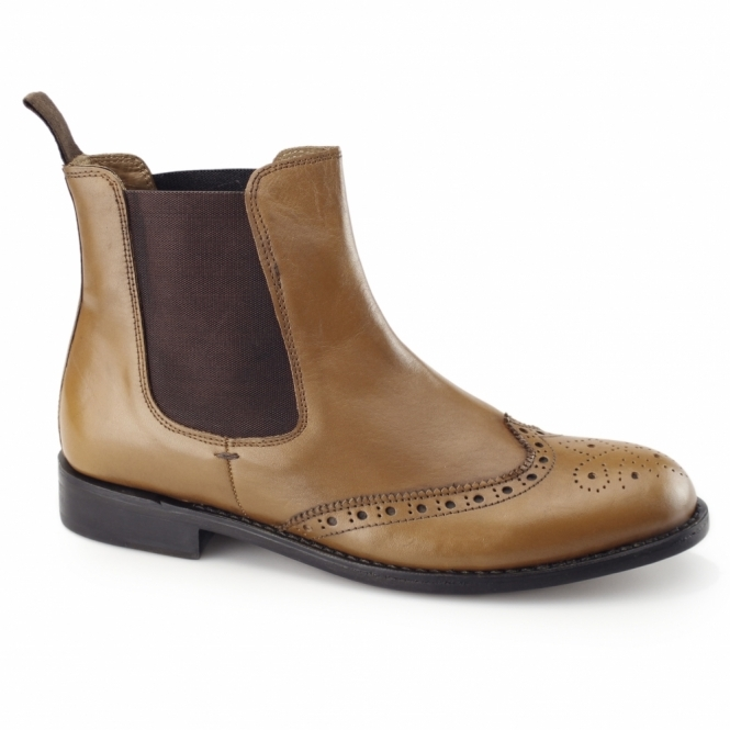 Kensington WESLEY Mens Goodyear Welted Chelsea Boots Tan