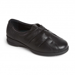 KERRY Ladies Leather Extra Wide Plus Touch Fasten Shoes Black