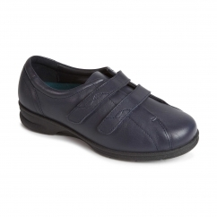 KERRY Ladies Leather Extra Wide Plus Touch Fasten Shoes Navy