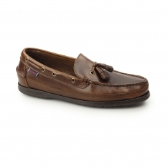 KETCH Mens Oiled Waxy Leather Tassel Loafers Brown