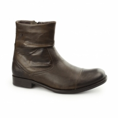 KEYSTONE RUSTIC Mens Leather Zip Biker Boots Brown