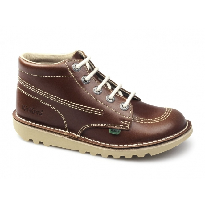 Kickers KICK HI Kids Leather Boots Dark Tan