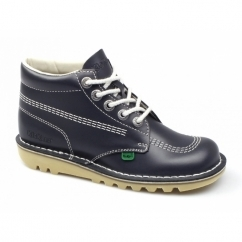 KICK HI Kids Leather Boots Navy