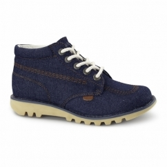 KICK HI Ladies Denim Boots Dark Blue