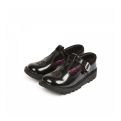KICK T SUMA Girls T-Bar Leather Shoes Black