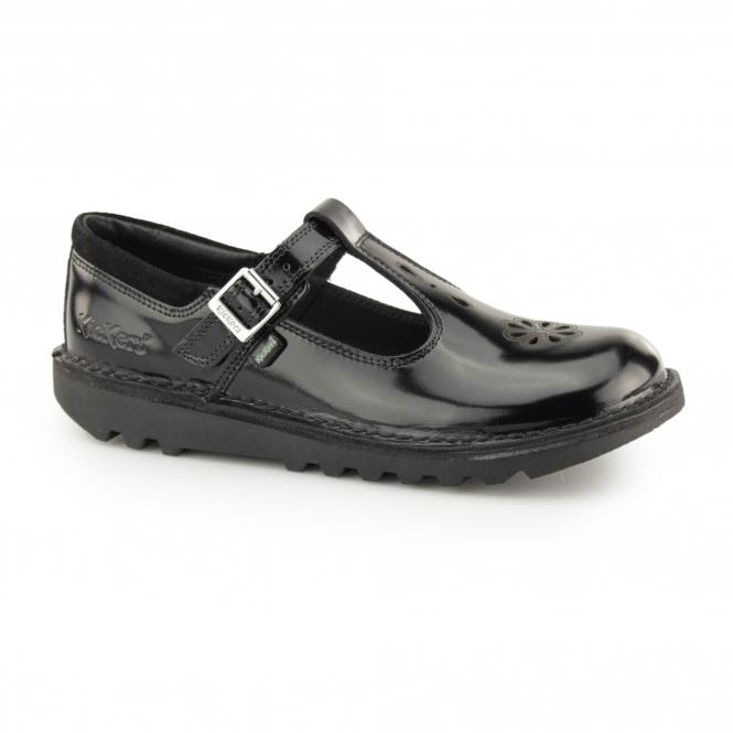 90574164 Kickers KICK T SUMA Girls T-Bar Leather School Shoes Black | Shuperb