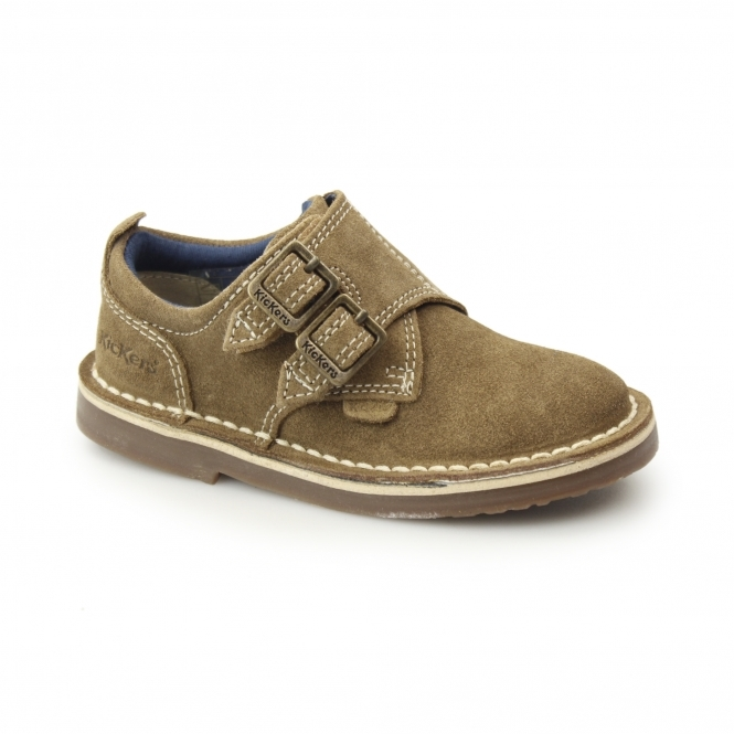 f2a55f7e95203f Kickers ADLAR MONK DSTRAP Kids Suede Leather Double Monkstrap Shoes Light  Tan